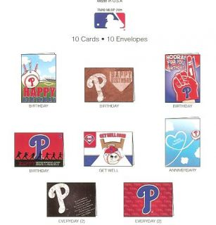 Phillies Greeting Cards Variety 10 Pack Birthday Anniversary Well