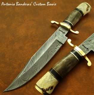 Antonio Banderas EXQUISITE 1 OF A KIND CUSTOM DAMASCUS BOWIE KNIFE