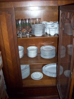 Antique China Cabinet w Dishes and Silverware RR $450 00