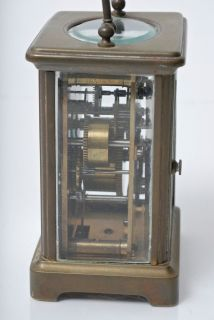 Antique Brass and Beveled Glass Carraige Clock with Alarm English or