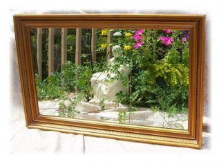 Vintage Nutone 701 N Wood Wall Wide Beveled Mirror Gold