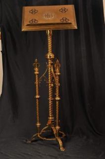 Victorian Antique Brass Lecturn Music Stand Easel