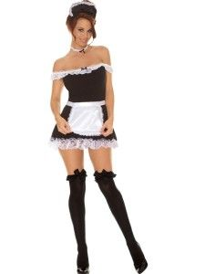 Sexy Maid Dress Apron Hat Womens Adult Costume French Black White