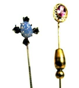Vintage Antique 10K Yellow Gold Stick Pin Plus Stick Pin w Opal