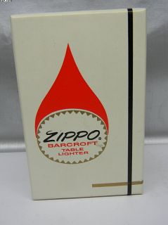 Vintage Zippo Barcroft table lighter W/Box MINT SHAPE NEVER USED