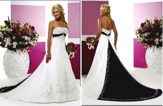 White Wedding Dress Black Lace Bridal Gown Bride Party Prom Ball