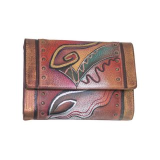 Anuschka Genuine Leather Ladies Small TriFold Hand Painted Abstract
