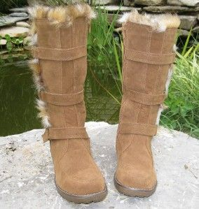 Girls Suede Leather & Fleece Trapper Boots APRES LAMO Sizes 6 7 8 9 10