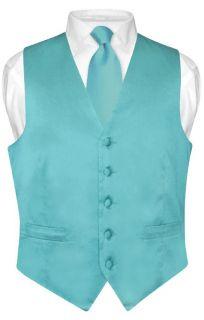 Biagio Turquoise Aqua Blue Silk Dress Vest Necktie S
