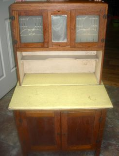 EXCEPTIONAL ANTIQUE OAK CHILDS HOOSIER CABINET WITH FROSTED GLASS FROM