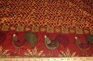 Debbie Mumm Fabric Happy Harvest Rooster Double Border 60 Wide
