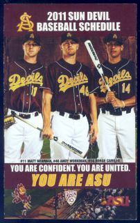 2011 Arizona State Sun Devils Coca Cola Baseball Pocket Schedule Free