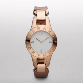 Armani Exchange Stainless Steel Rose Gold Ladies Watches Bracelet