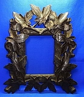 Antique German Folk Art Wood Carved Picture Frame J
