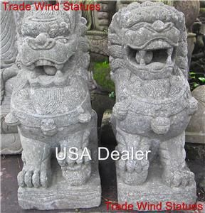 Carved Stone GUARDIAN Lion of Buddha FOO DOG zen GARDEN STATUES #501 I