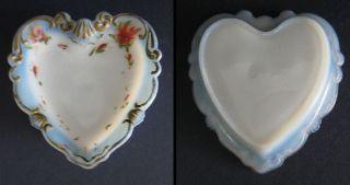 Beautiful Antique Victorian Opalescent Milk Glass Heart Shaped Pin