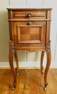 Antique French Country Nightstand Lamp End Table Louis XV Marble Top