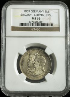 1909 germany fredrick august iii silver 2 mark coin ngc ms 65 500th