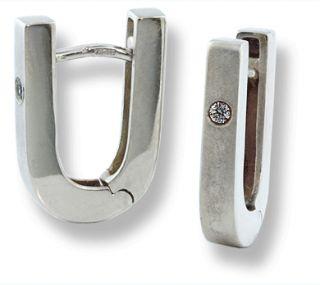 Shape Huggies 10K White Gold Earrings 03 CTW Diamonds