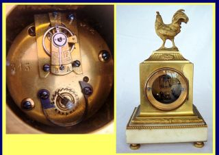 Antique French Clock Gilt Bronze w Cockerel, Jewels 19C (4553)