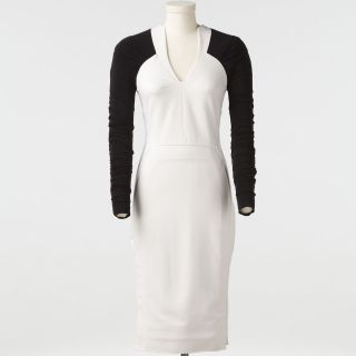 Kim Kardashian Antonio Berardi Long Sleeve Ivory & Black Fitted Dress