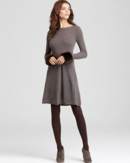 Autumn Cashmere New Brown Long Sleeve Boatneck Flare Casual Dress L