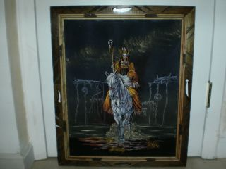 Framed Black Velvet Painting Native American Indian on Horse Unsigned