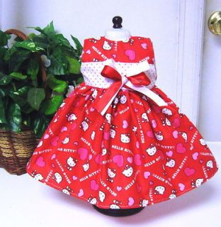HELLO KITTY VALENTINE PRINT fit American Girl Doll Dress Clothes