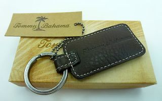 New Tommy Bahama Islehopper Embossed Brown Leather Key Chain Fob Ring