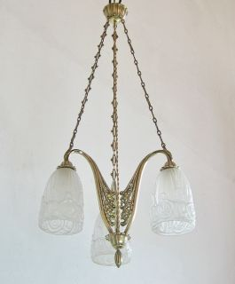 VINCENT : FRENCH 1925 ART DECO CHANDELIER bronze .. muller era