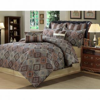 8PC Blue Gray Cream Brown Southwestern Inspired Geometric Comforter
