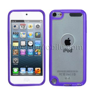 apple ipod touch 5g 5th gen case purple clear gummy hard cover tpu