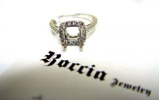 18K White Gold Engagement Ring for Ascher Cut Diamond