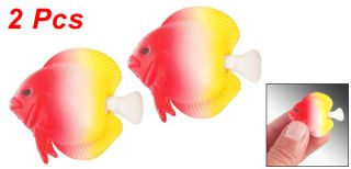 White Red Yellow Plastic Swing Tail Water Float Fake Fish 2 Pcs