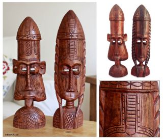 Ashanti Funeral Masks Hand Carved Wood Sculpture Carvings Pair African