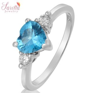 FASHION JEWELRY HEART CUT 18K WHITE GOLD PLATED AQUAMARINE RING 8