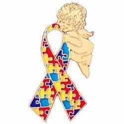 Asperger Autism Awareness puzzle ribbon goldtone angel lapel tac pin