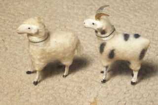 PUTZ WOOLY SHEEP RAM MATCHING PAIR GOLD METAL HORNS GERMAN GERMANY