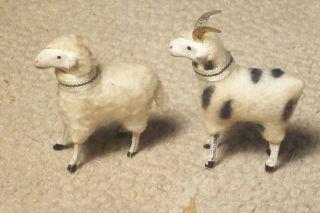 PUTZ WOOLY SHEEP RAM MATCHING PAIR GOLD METAL HORNS GERMAN GERMANY