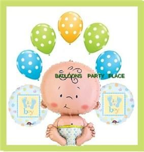 Baby Shower Balloons Blue Green Polka Dots Boy Decorate
