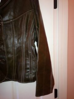 Leather Maxima Womens Olive Asparagus Green Leather Coat XL