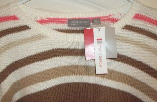croft & barrow woman BEIGE PINK BROWN & WHITE Stripes Sweater 2X nwt
