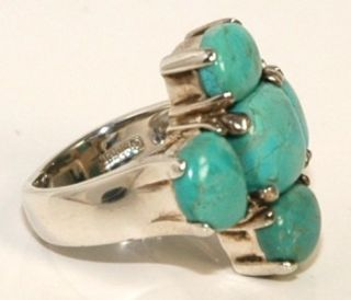 Vintage Barse .925 Sterling Silver Blue Turquoise Cross Ring, Size 6.5