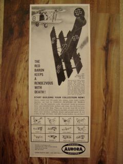 AURORA WORLD WAR 1 RED BARON SOPWITH CAMEL FOKKER AIRPLANE AD M NM