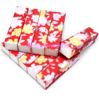 PCS Red Flower Buffer Buffing Sanding Block Files Grit Nail Art Tool