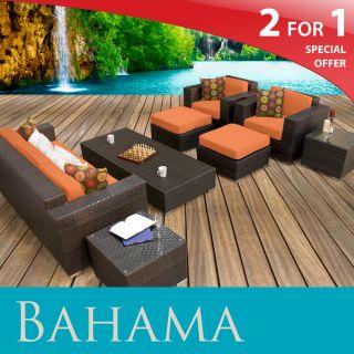 Bahama 8PC Set Outdoor Wicker Patio Garden Furniture Tangerine New
