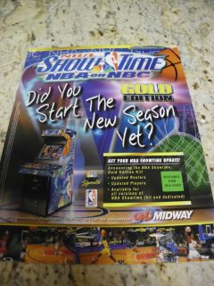 Original Midway NBA Showtime Basketball Arcade Video Game Flyer