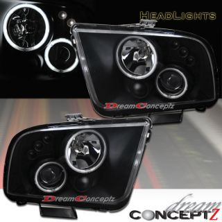 Ford Mustang Dual CCFL Halo Projector Headlights Black Style