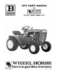 Wheel Horse Tractor Parts Manual B 100 Auto 1 0511