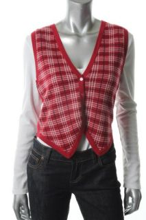Autumn Cashmere New Red Cashmere Pattern V Neck Sweater Vest Top M